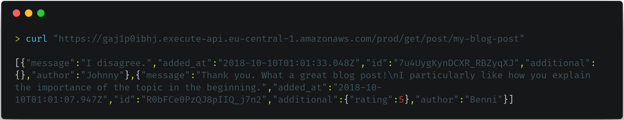 Accessing the comments from a blog post via the yace API using curl