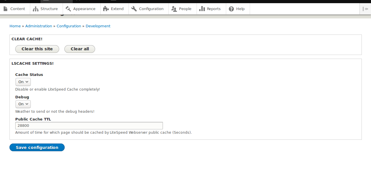LiteSpeed Cache Drupal Plugin Configurations