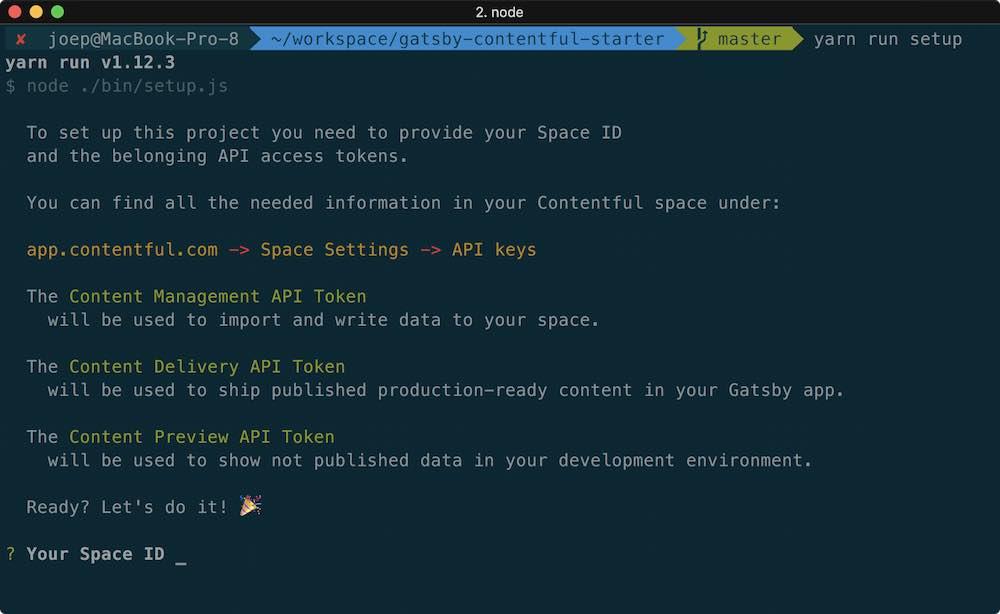 Command line dialog of the yarn run setup command