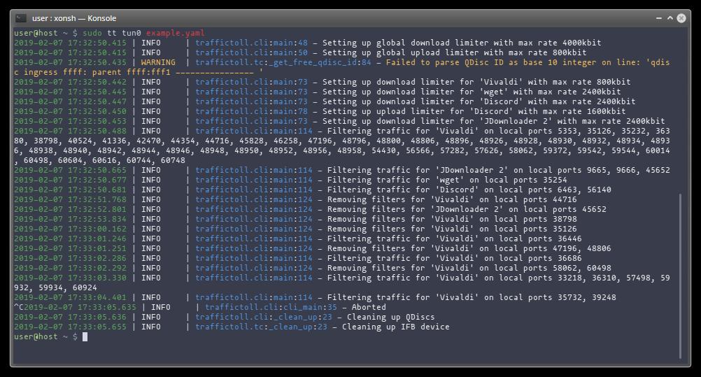 GitHub - cryzed/TrafficToll: NetLimiter-like traffic shaping for Linux