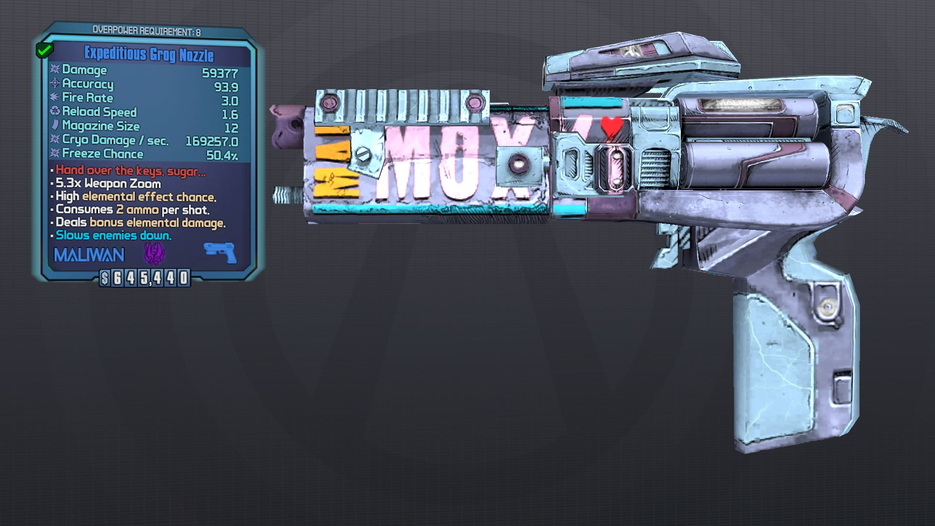 Borderlands 2 slag pistols