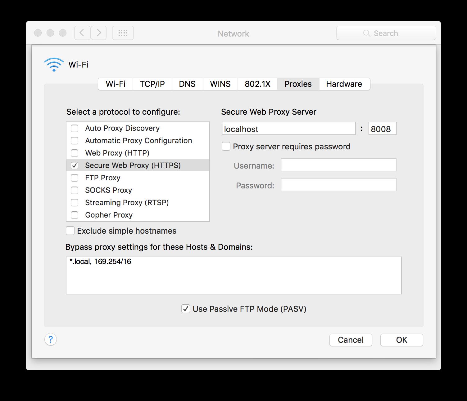 Setting up proxy on OS X