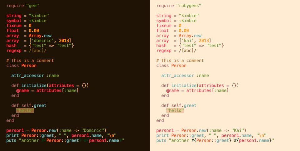 GitHub - idleberg/Kimbie tmTheme: Color scheme inspired by Mount