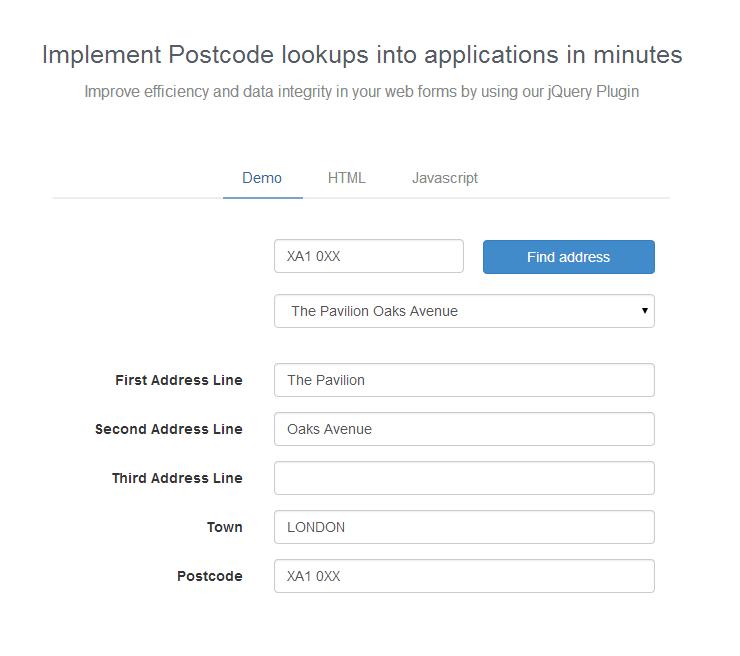 Open Postcodes Plugin Demo