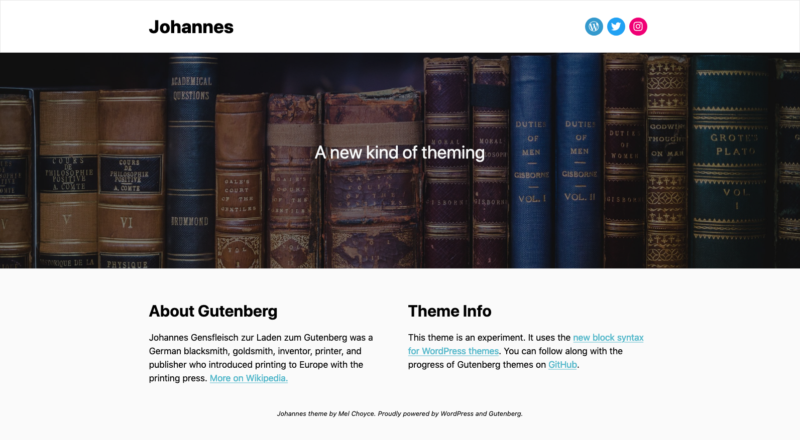 A screenshot of the Johannes theme, which features a logo and social menu in the header, a cover block, and then two columns in the footer.