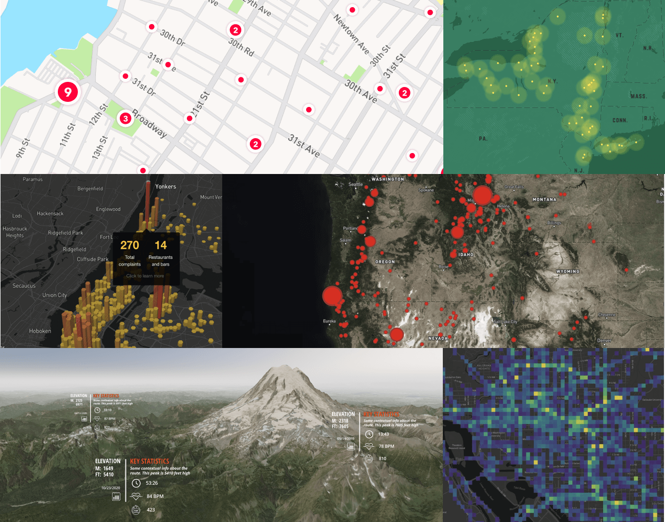 Mapbox GL JS gallery of map images