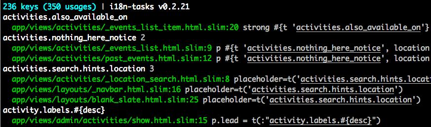 i18n-tasks - 可以帮助您找到并管理缺失和未使用的翻译 - Ruby开发社区   CTOLib码库