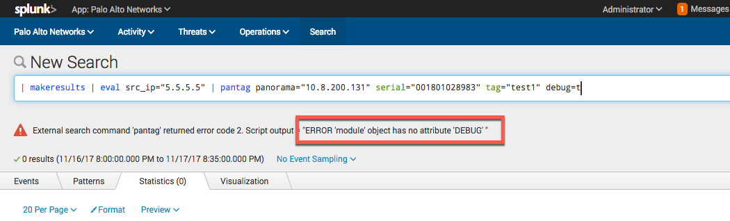pantag: error when using `debug=t` · Issue #63