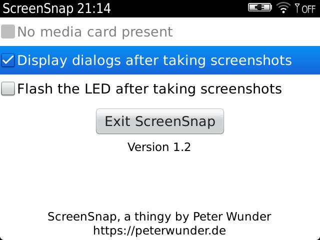 Screenshot of ScreenSnap's main screen