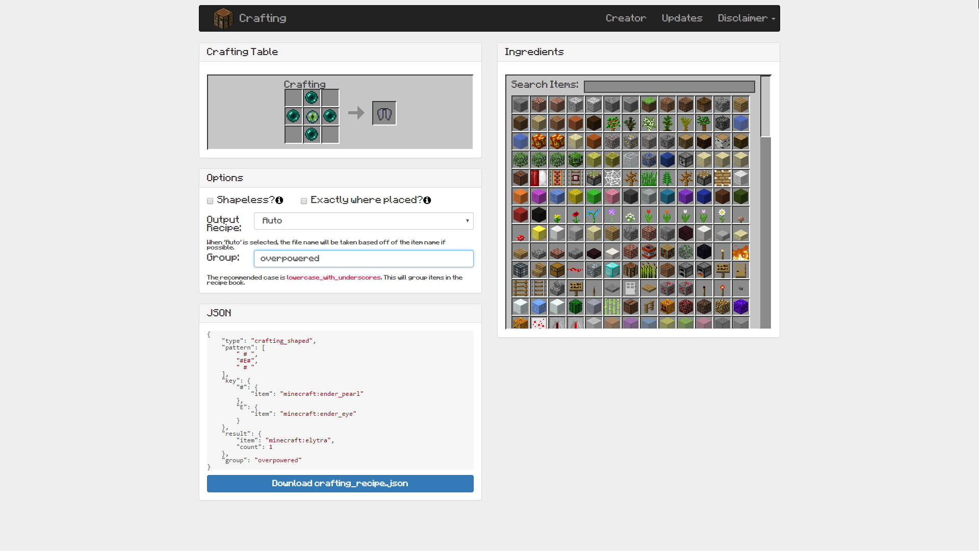 GitHub - destruc7i0n/crafting: Website for generating the