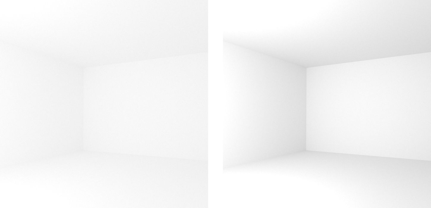 Comparison of diffuse rooms with 100% reflecting white paint (left) and realistic 80% reflecting white paint (right), which leads to higher overall contrast. Note that exposure has been adjusted to achieve similar brightness levels.