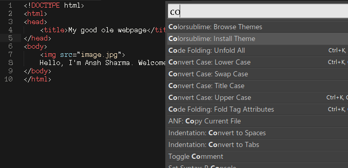 Setting up advanced features in Sublime Text · AnshSharma/html Wiki