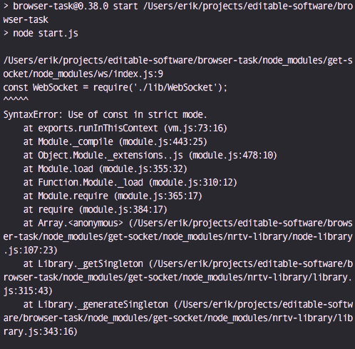 SyntaxError: Use of const in strict mode.