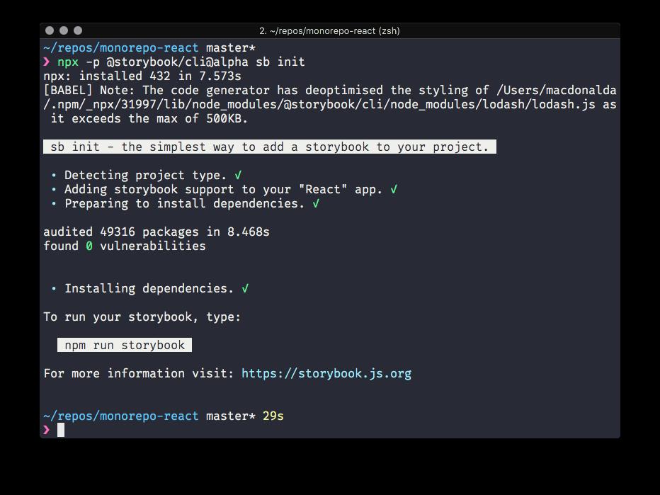 Screenshot of Storybook React 4 installing