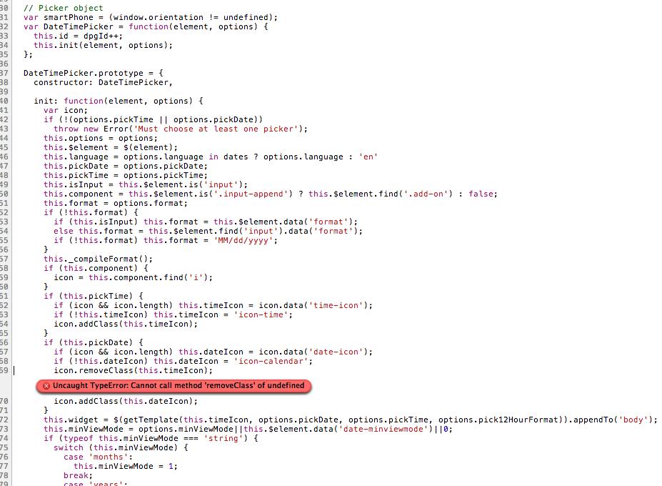Uncaught TypeError: Cannot call method 'removeClass' of