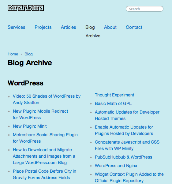Screenshot of Taxonomy Archives plugin for WordPress