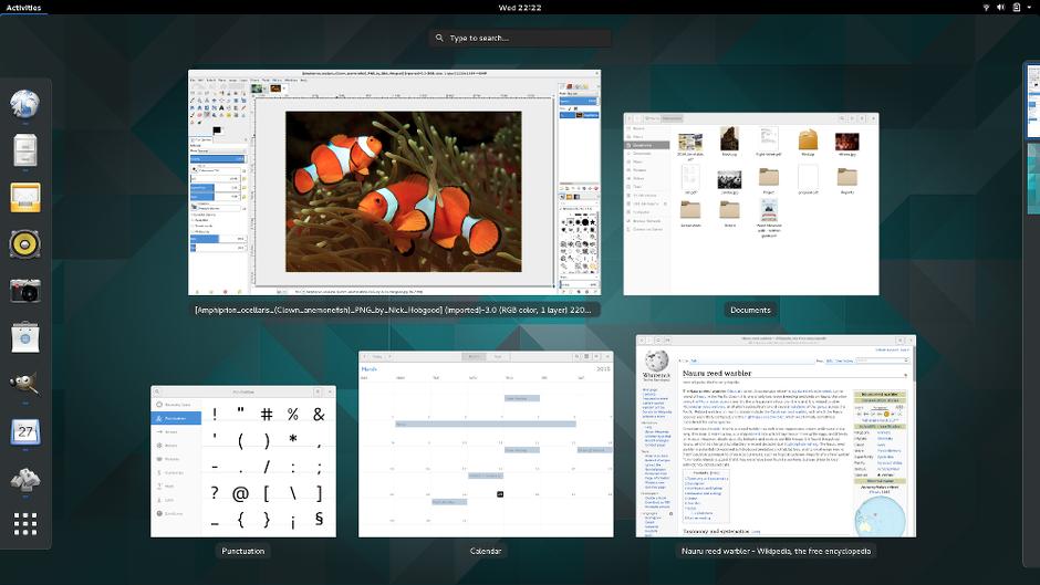 Tampilan desktop GNOME