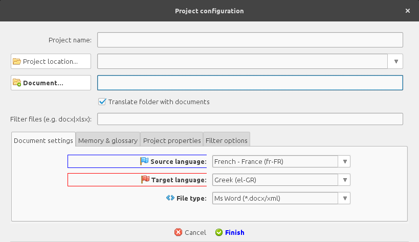New project configuration > Document settings