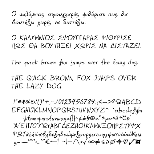 font specimen