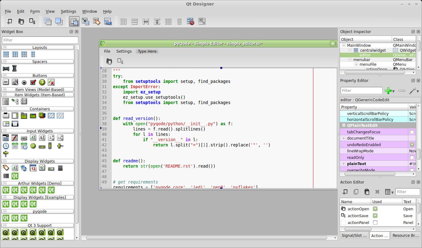 GitHub - pyQode/pyqode designer: Starts Qt Designer with the