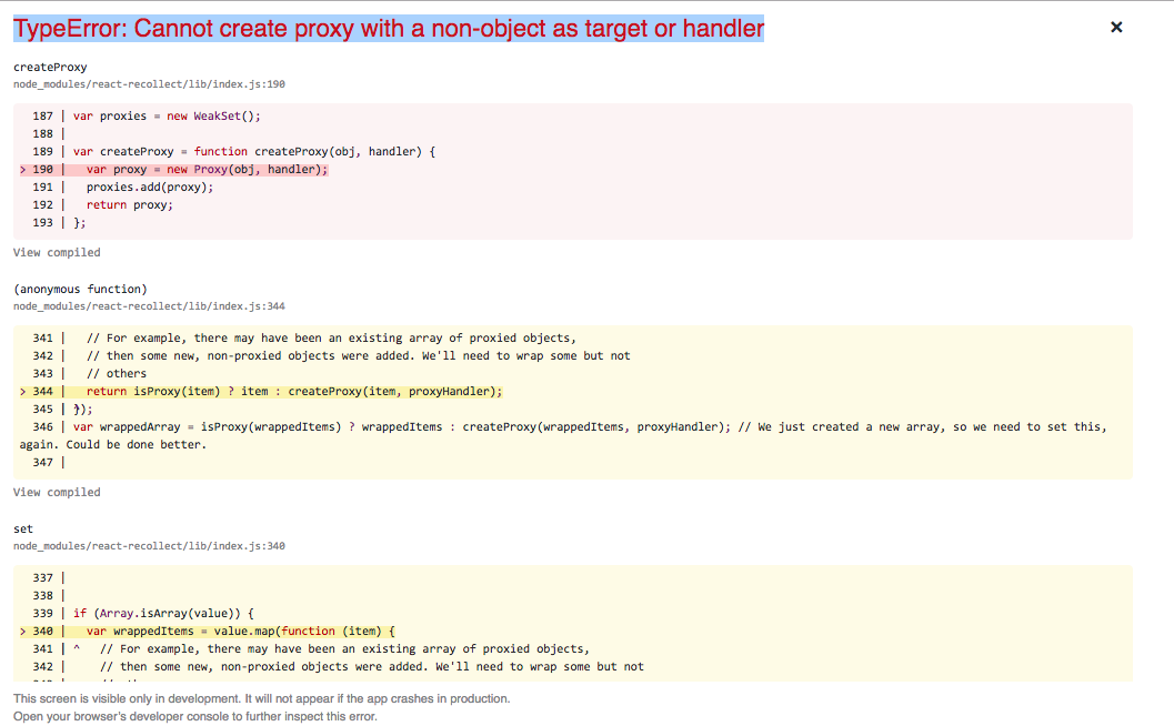 TypeError: Cannot create proxy with a non-object as target