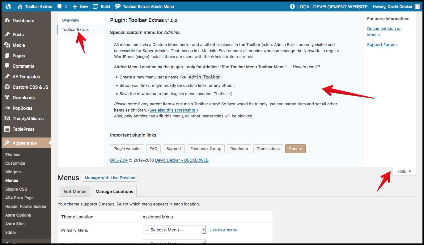 Toolbar Extras - help tab for Admin Toolbar Menu