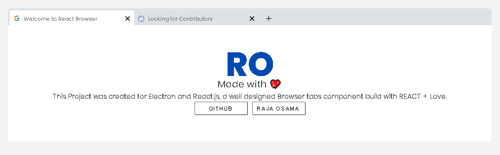 Chrome Browser Tabs For React js