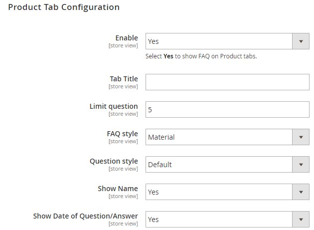 product tab configuration