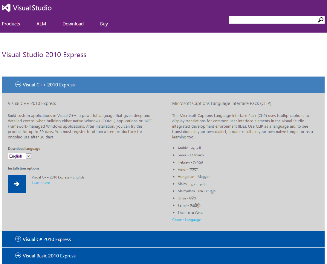 VS 2010 Express download page