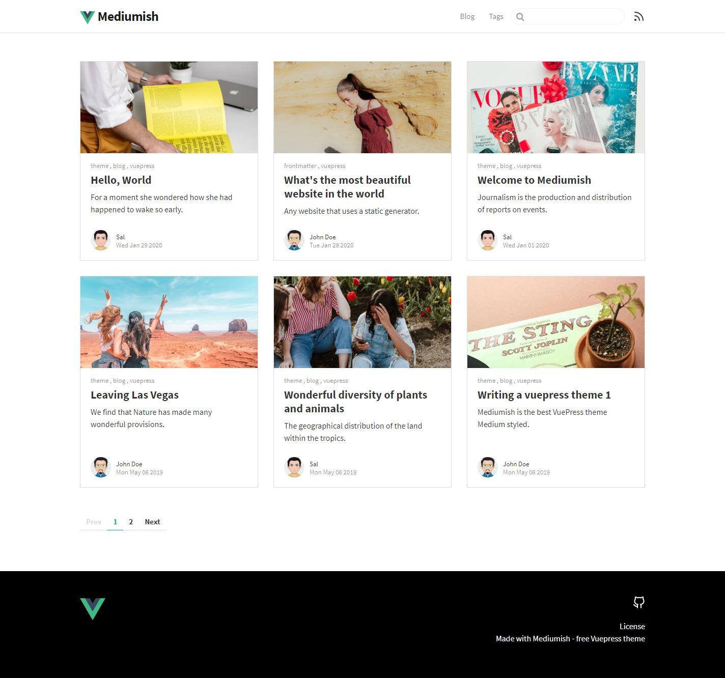 mediumish vuepress blogging theme