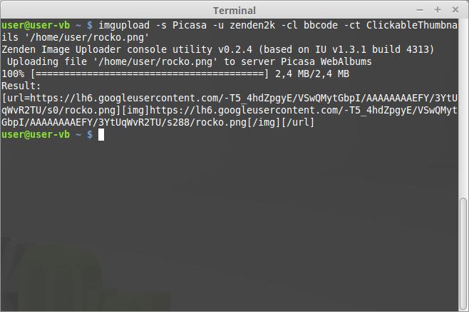 Image Uploader Console Utility running on Ubuntu