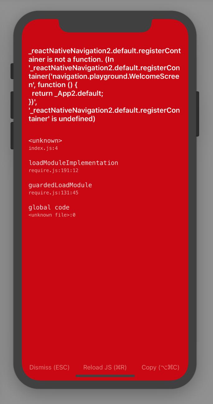 reactNativeNavigation2 default registerContainer is not a