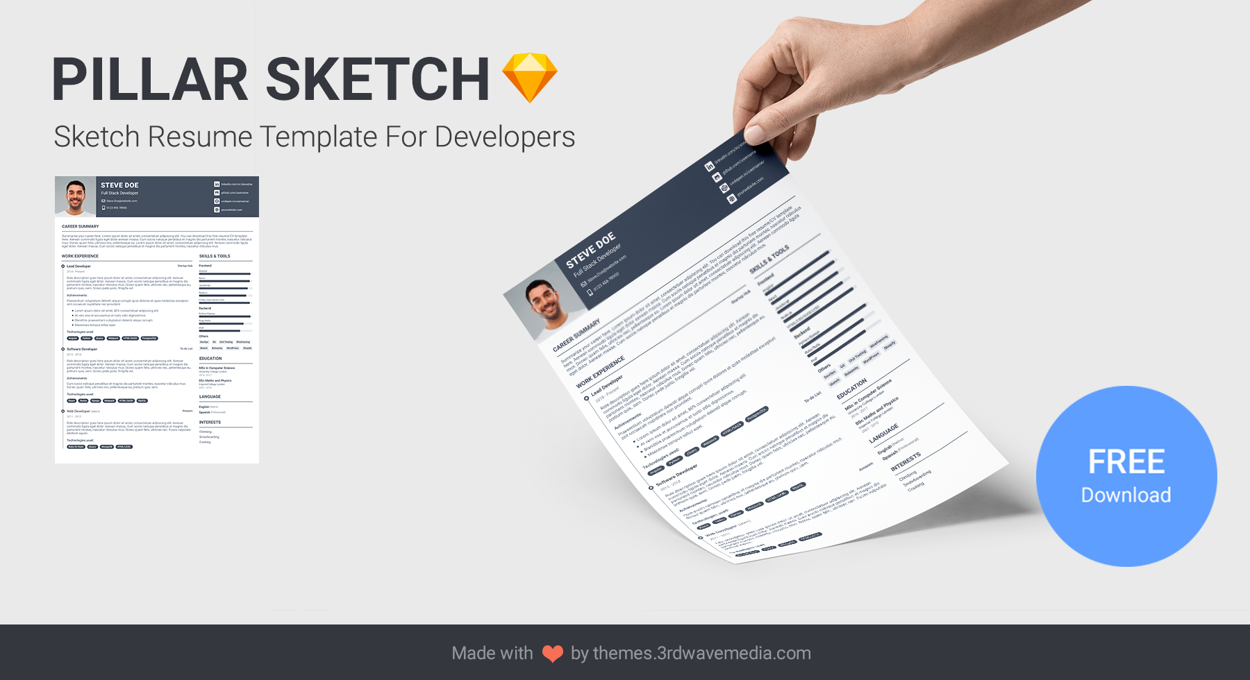 Pillar Sketch - Sketch Resume/CV Template for Developers
