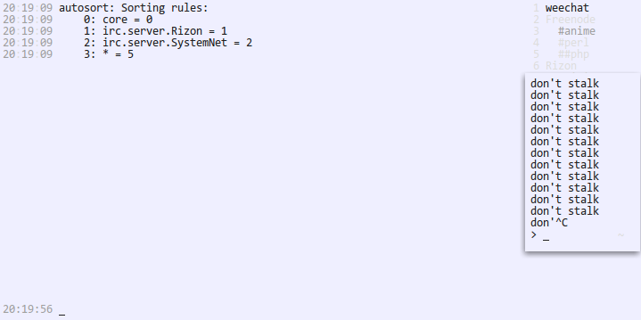 Autosort will not sort my buffers by server properly · Issue