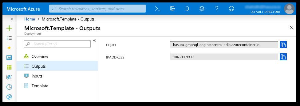 Azure Portal deployment output screenshot