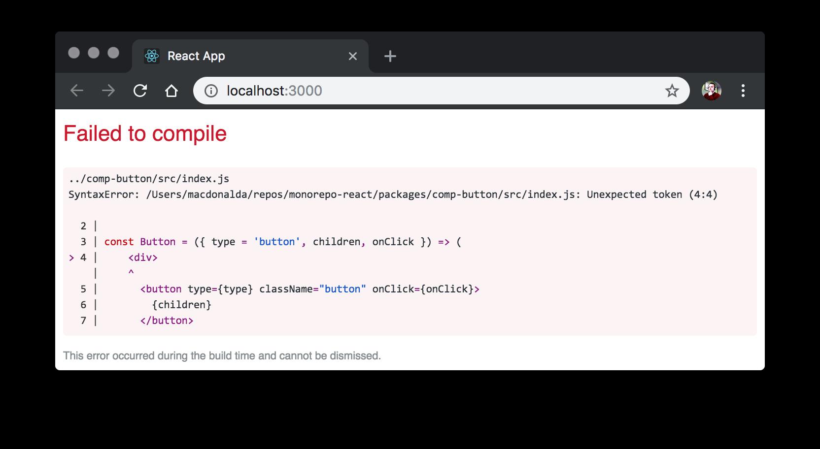 Screenshot of React Start error