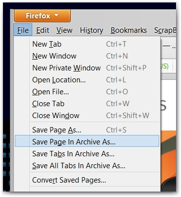 Firefox, MAF, Save Page In Archive Menu