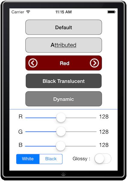 A screenshot rendering NVUIGradient buttons
