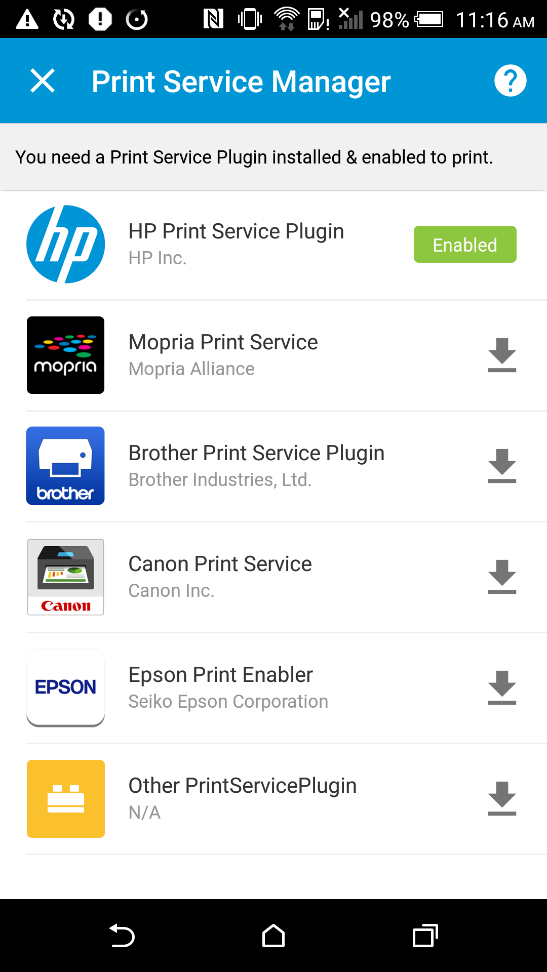 They Are HP Print Sevice Plugin Mopria Service Canon Epson And Brother For Lollipop Above Or