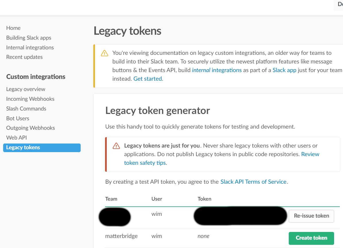 Create token screen
