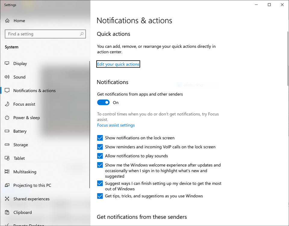 """Window of the Windows 10 """"Notifications & actions"""""""