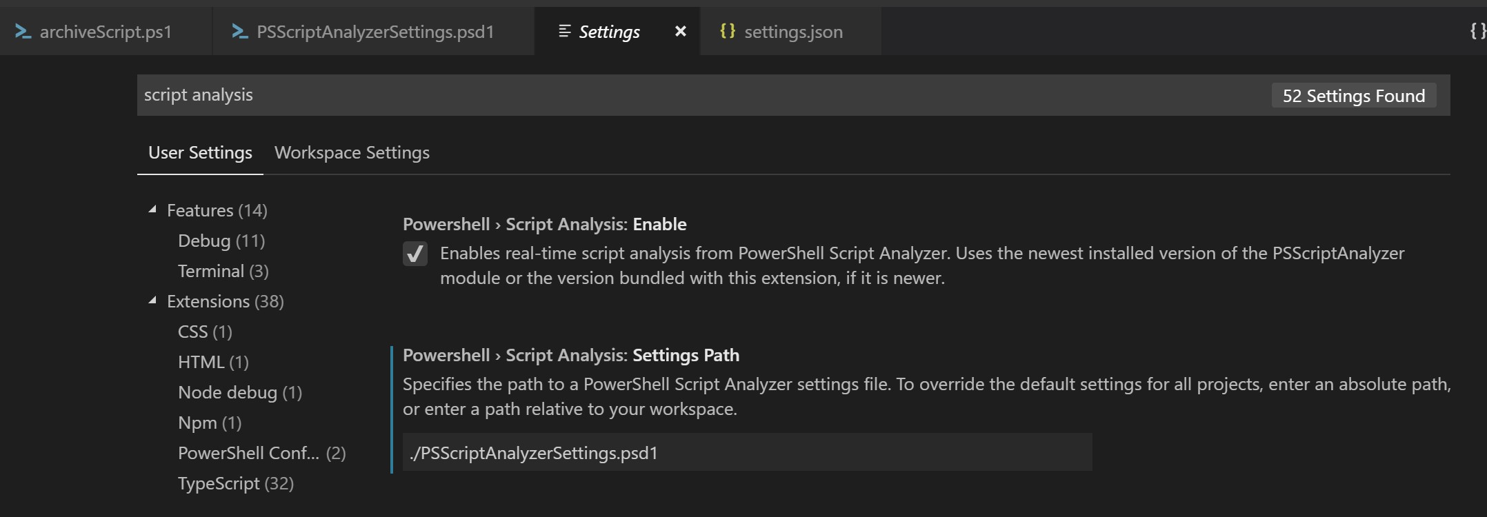 "VSCode settings GUI with PSScriptAnalyzer settings path configured to ""./PSScriptAnalyzerSettings.psd1"""