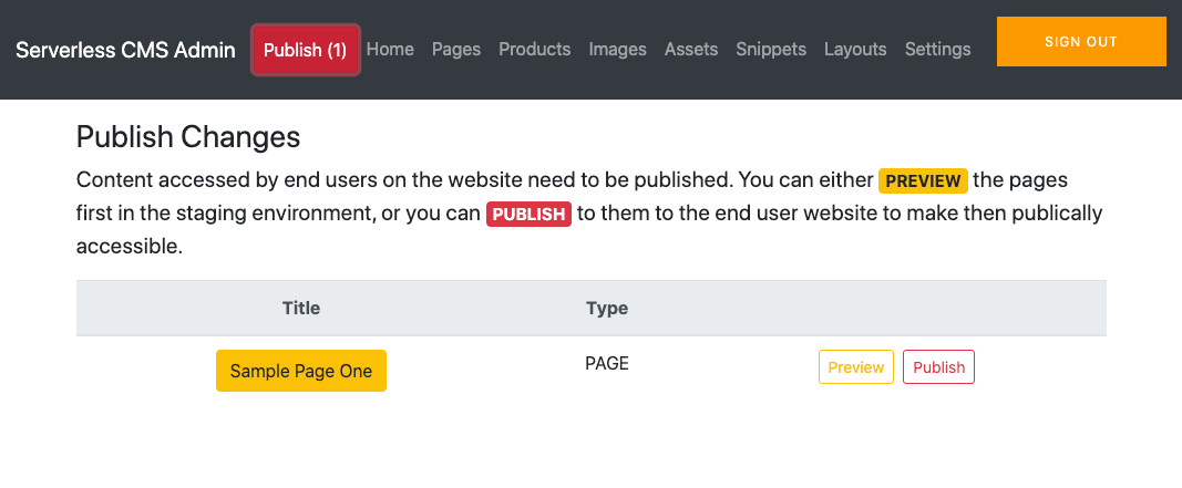 preview and publish