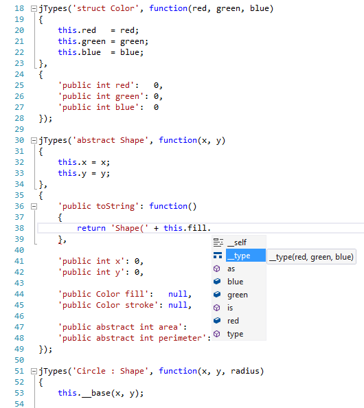 jTypes IntelliSense