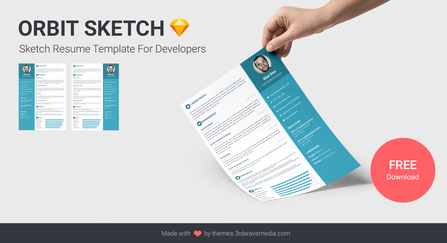 Sketch Resume Template for Developers