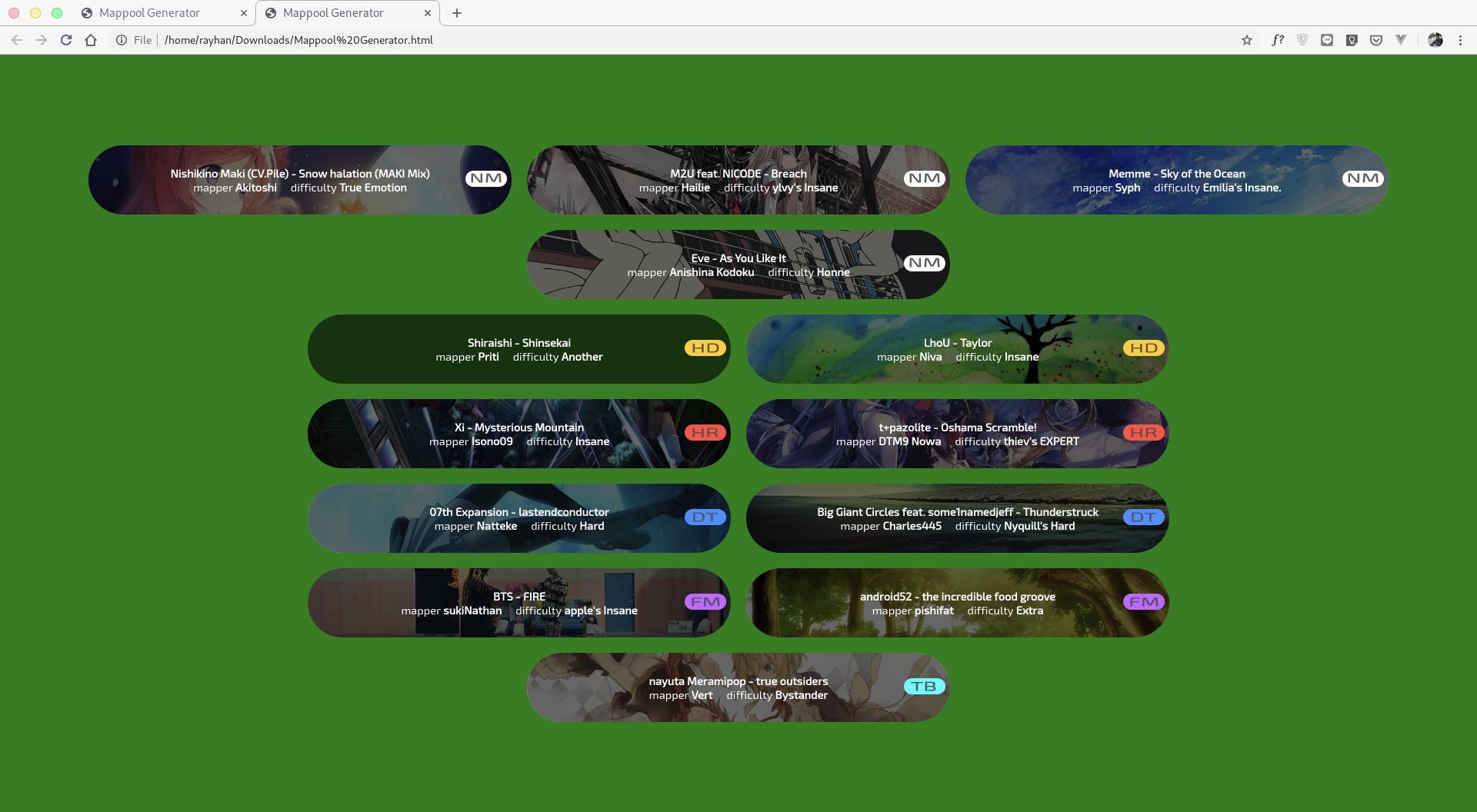 GitHub - mrayhanhakim/mappool-generator: A Mappool Generator