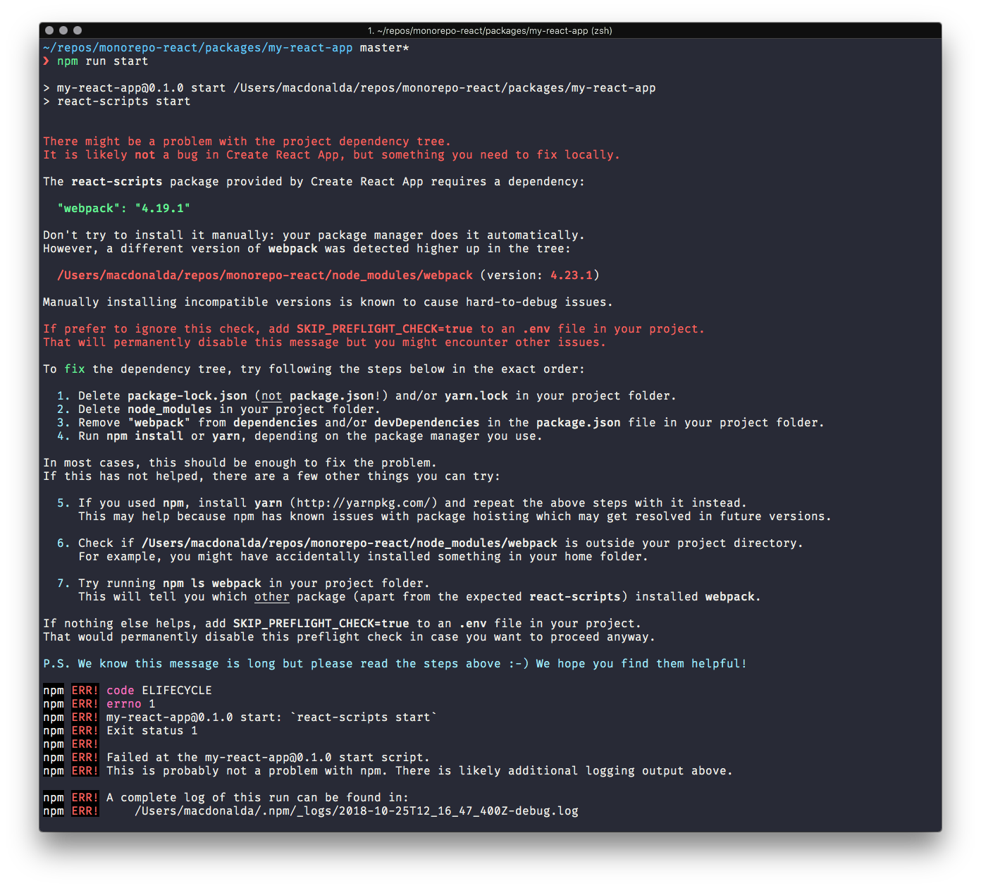 Screenshot of React error message about Webpack version number
