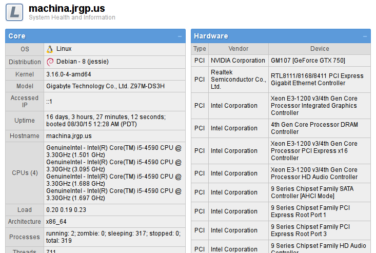 Linfo WebUI Screenshot