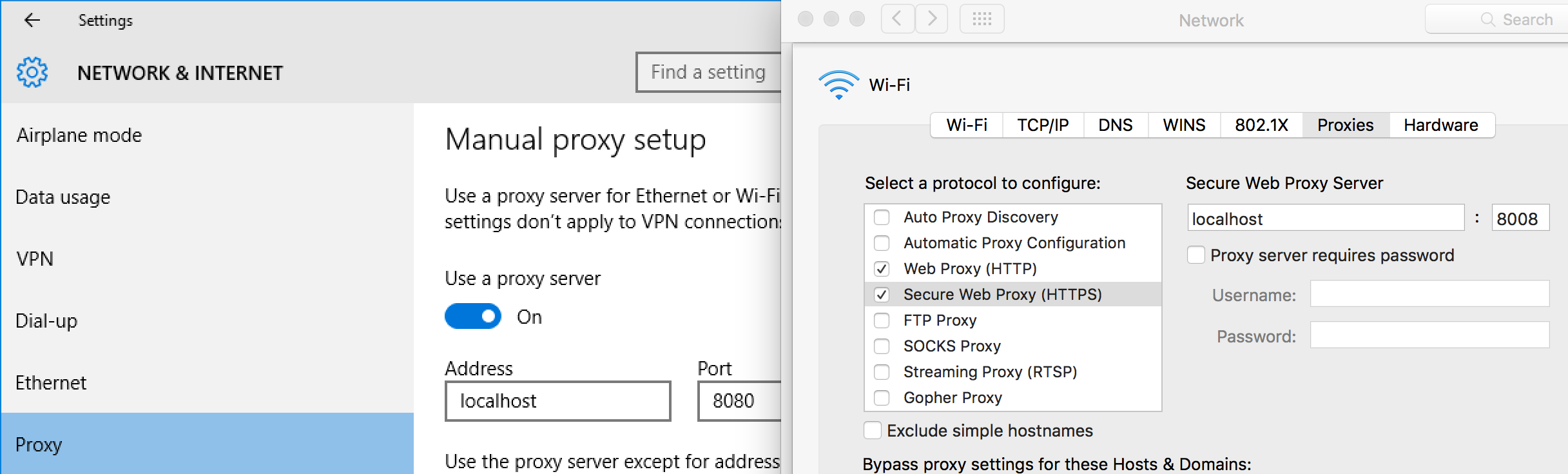 Setting up proxy on Windows 10 and OS X