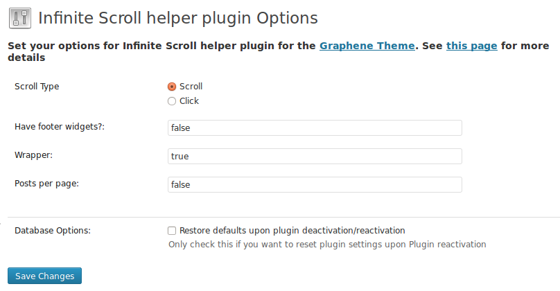 Plugin Options page